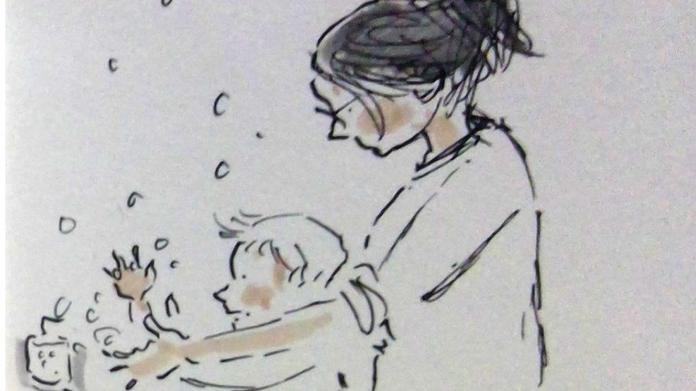Angie and her son Gruff wash their hands