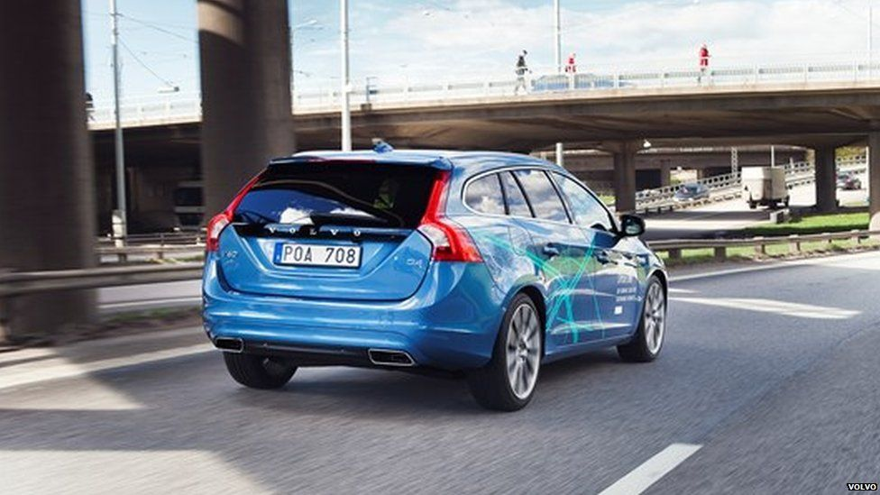 A driverless Volvo car on the road