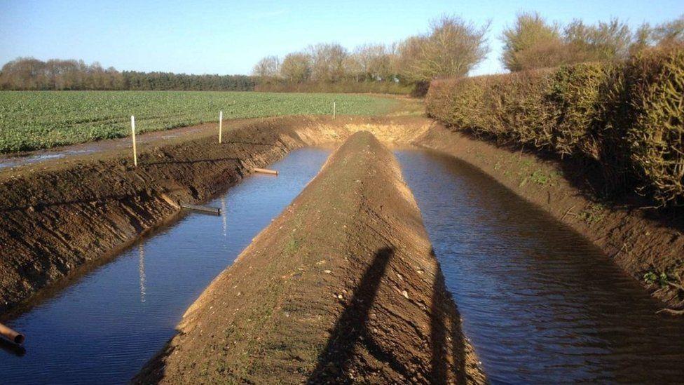 Ditches dug to form sediment traps