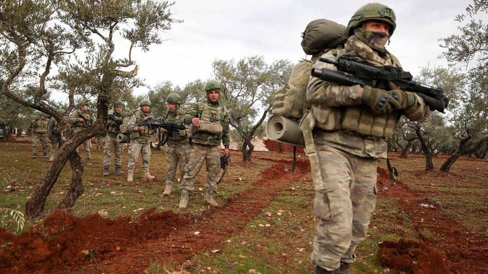 Turkish soldiers in the village of Qaminas, south-east of Idlib city, Syria (10 February 2020)
