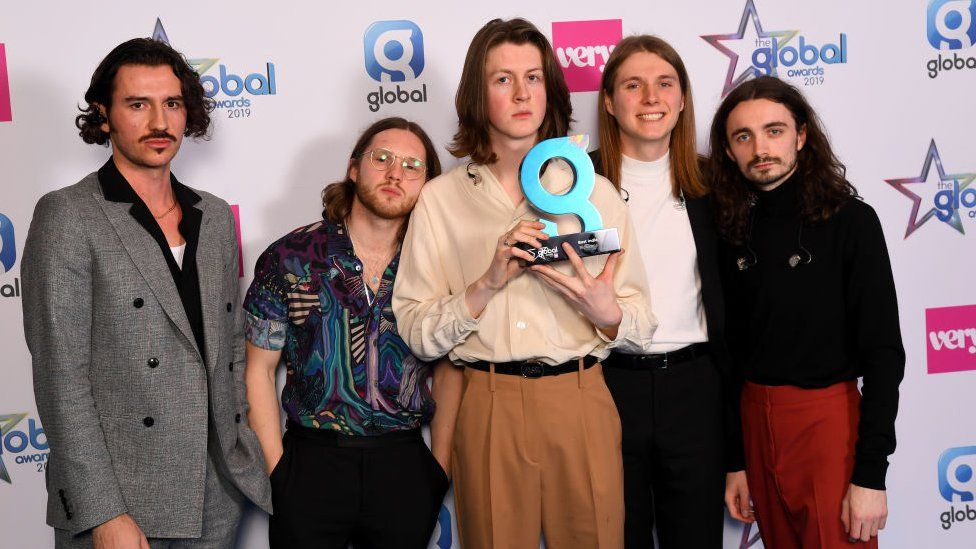 Charlie Salt, Joe Donovan, Tom Ogden, Myles Kellock and Josh Dewhurst of Blossoms win the Best Indie Award at the The Global Awards with Very.co.uk at Eventim Apollo, Hammersmith on March 07, 2019