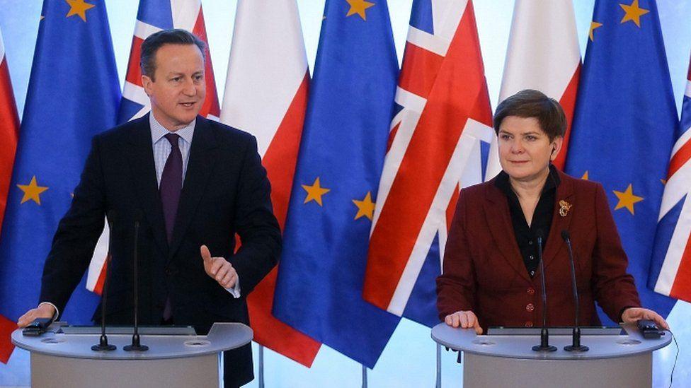 David Cameron and his Polish counterpart Beata Szydlo