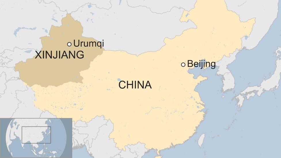 Map of Xinjiang in China