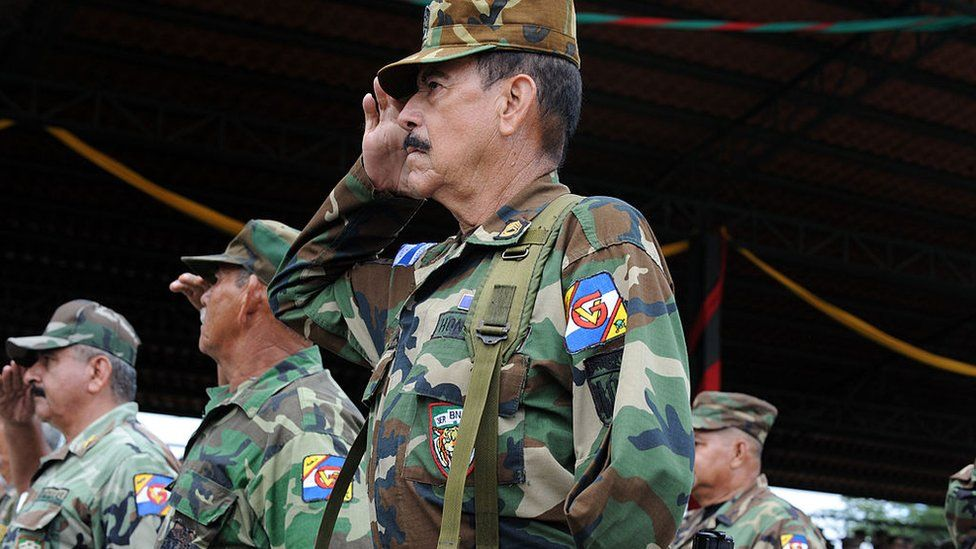 Veterans of the war pose during commemorations on the 47th anniversary of the conflict in Honduras