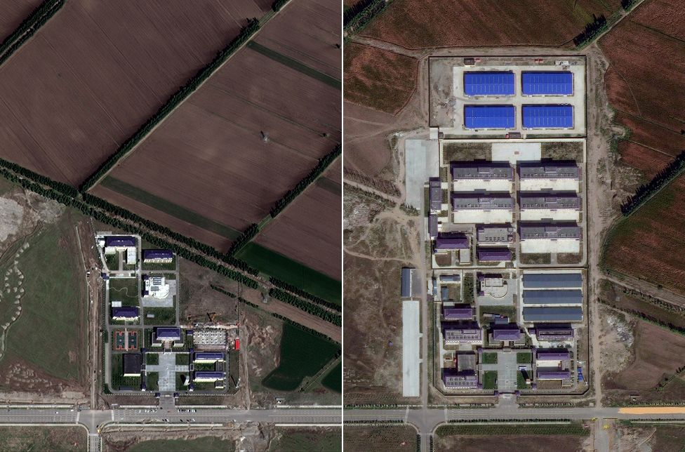 Ziawudun identified this site - listed as a school - as the location she was held. Satellite images from 2017 (left) and 2019 (right) show significant development typical of camps, with what look like dormitory and factory buildings