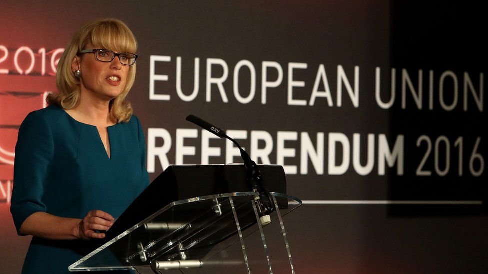 Jenny Watson, the Chief Counting Officer for the EU Referendum, announces that polling has closed and the national count has commenced at Manchester Town Hall