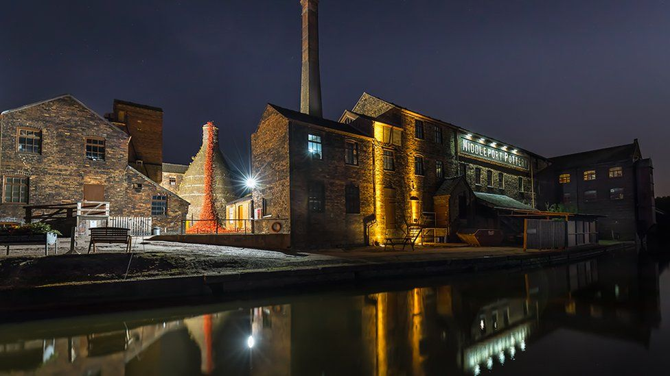 "A photo of a pottery works at the side of a canal titled ""Middleport Pottery with the Weeping Willows"" - voted first in Preliminary Open Projected"