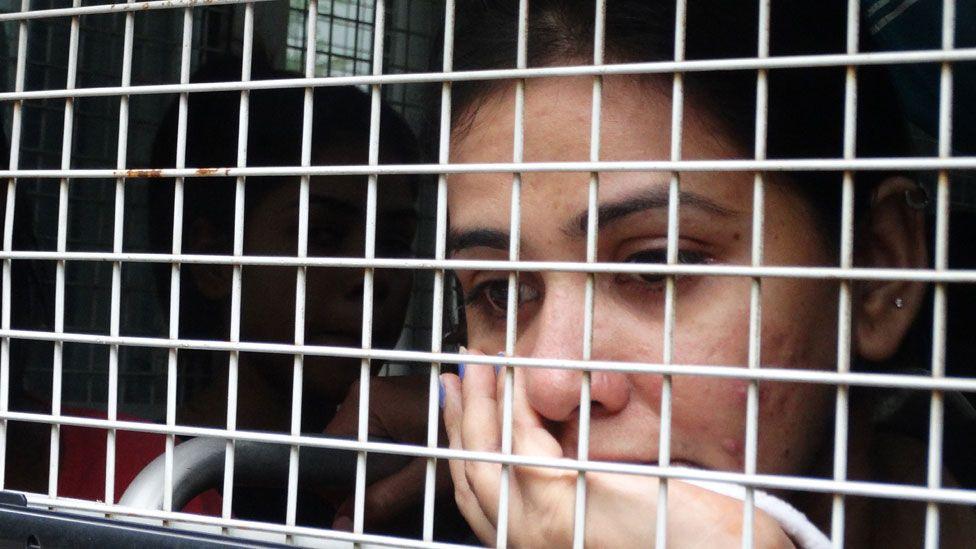 Close up of an arrested Pakistani Christian woman