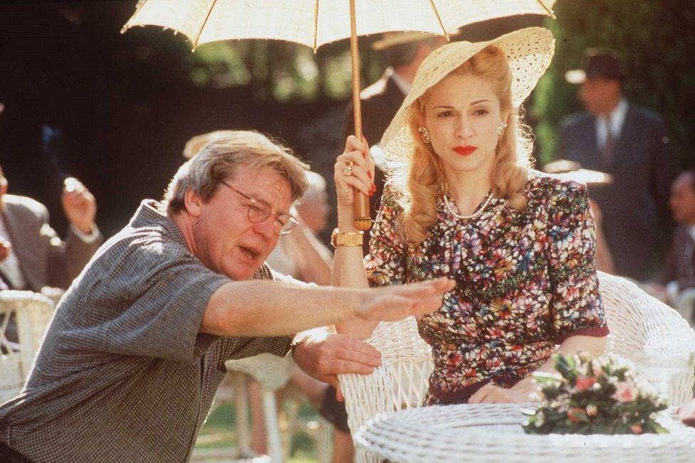 Madonna and Director Alan Parker on the set of Evita