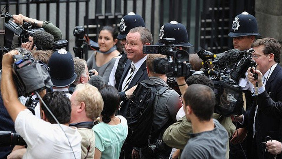 Mike Ashley arriving for parliamentary hearing