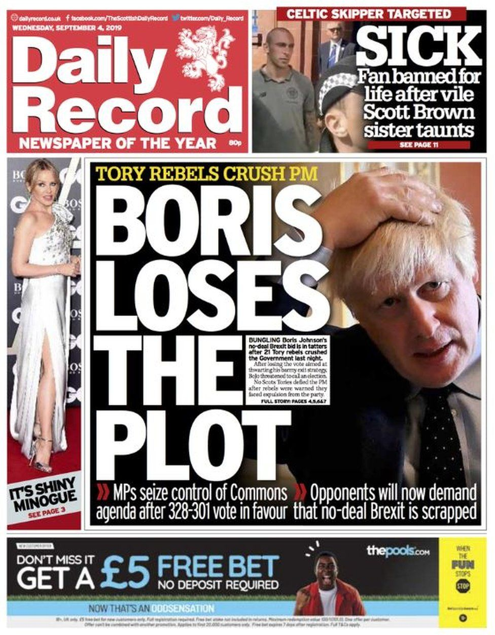 Scotland's papers: Johnson loses 'vote', 'control' and 'the