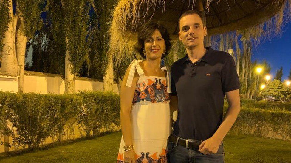 Cristina Carrasco with her husband, Ulíses Sánchez-Flor