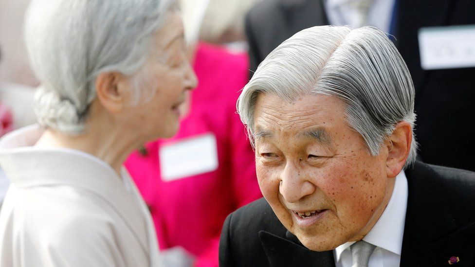 """Japan""""s Emperor Akihito and Empress Michiko attend the annual spring garden party at the Akasaka Palace imperial garden in Tokyo, Japan 20 April 2017"""