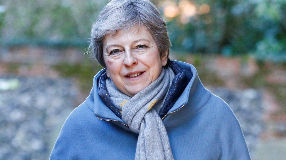 Theresa May arrives at church in Sonning