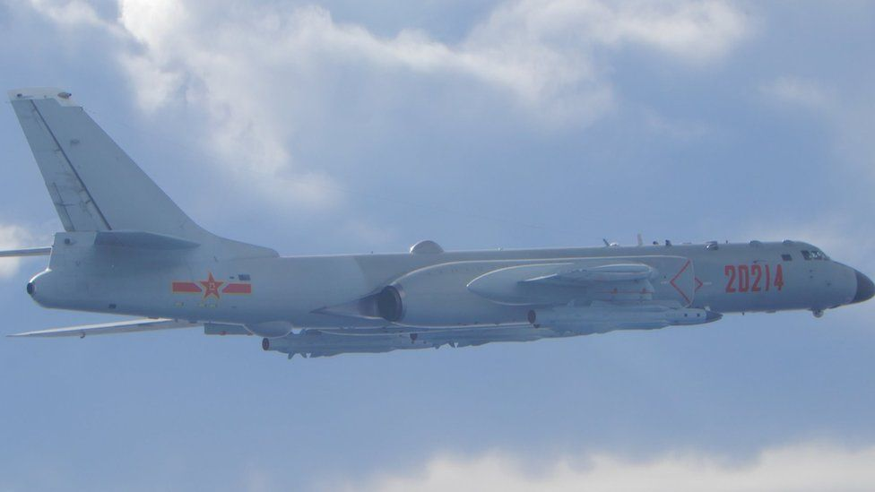 A Chinese H-6 bomber flies on a mission near the median line in the Taiwan Strait on 18 September 2020