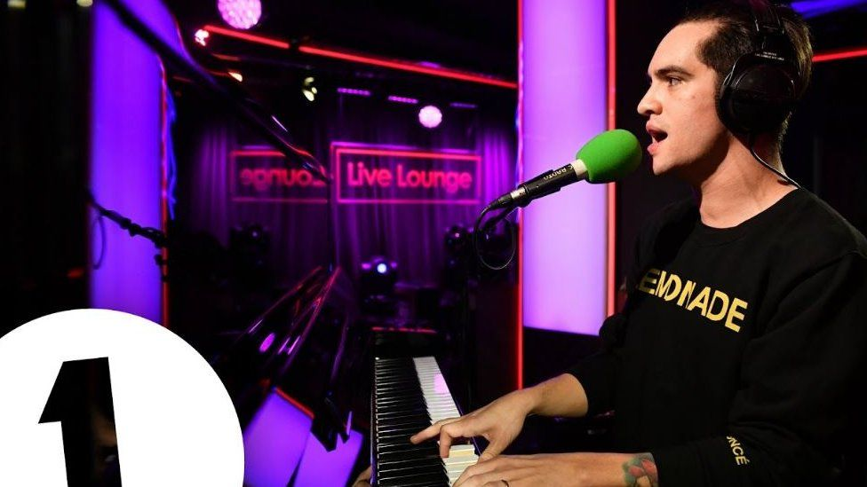 Brendon Urie performing in the Live Lounge