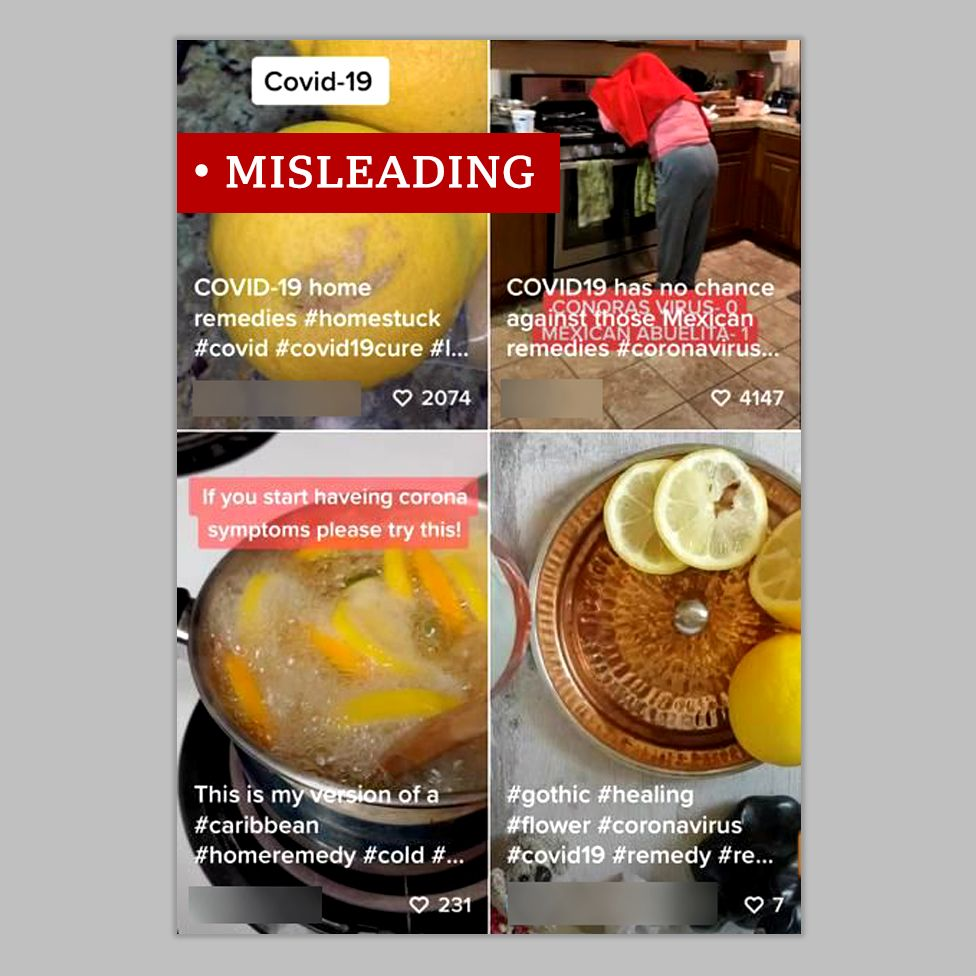 Images of TikTok videos showing citrus fruits and claims of a cure- labelled misleading