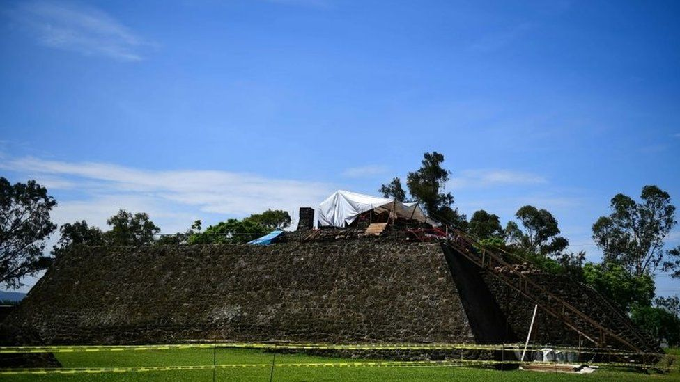 Works take place at the substructure inside the Teopanzolco pyramid in Cuernavaca, Morelos State, Mexico on July 11, 2018.