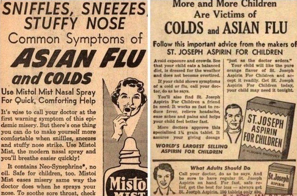 Hysbysebion papur newydd am yr 'Asian Flu'