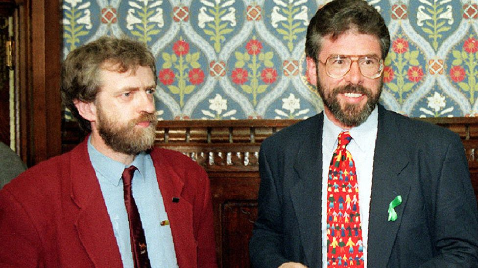 Jeremy Corbyn with Gerry Adams at the House of Commons, May 1995