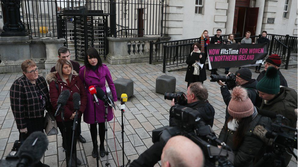 Sarah Ewart was accompanied to court by her mother and Grainne Teggart of Amnesty International