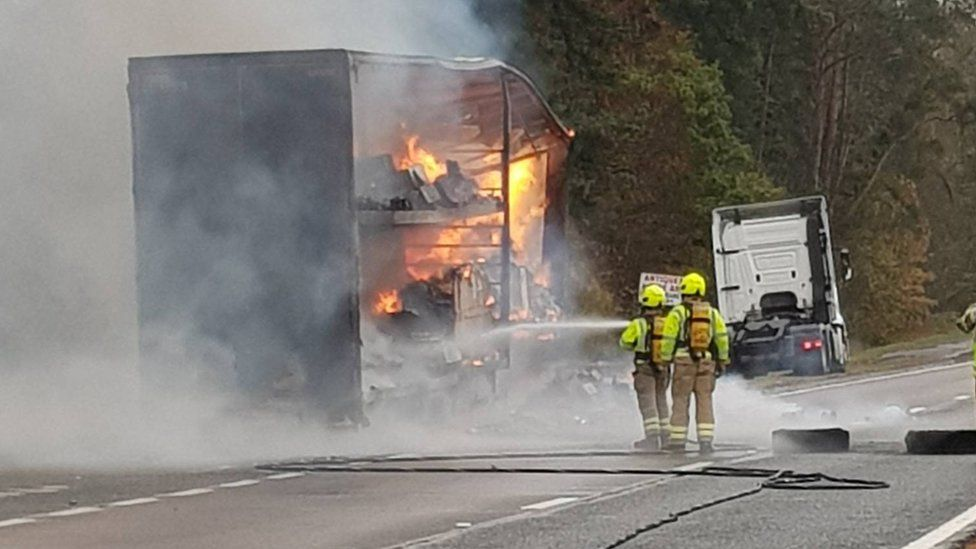 HGV on fire on A90