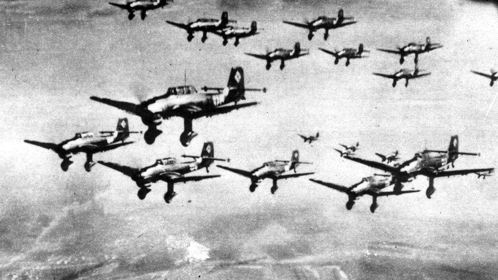 Stukas in formation, 1940