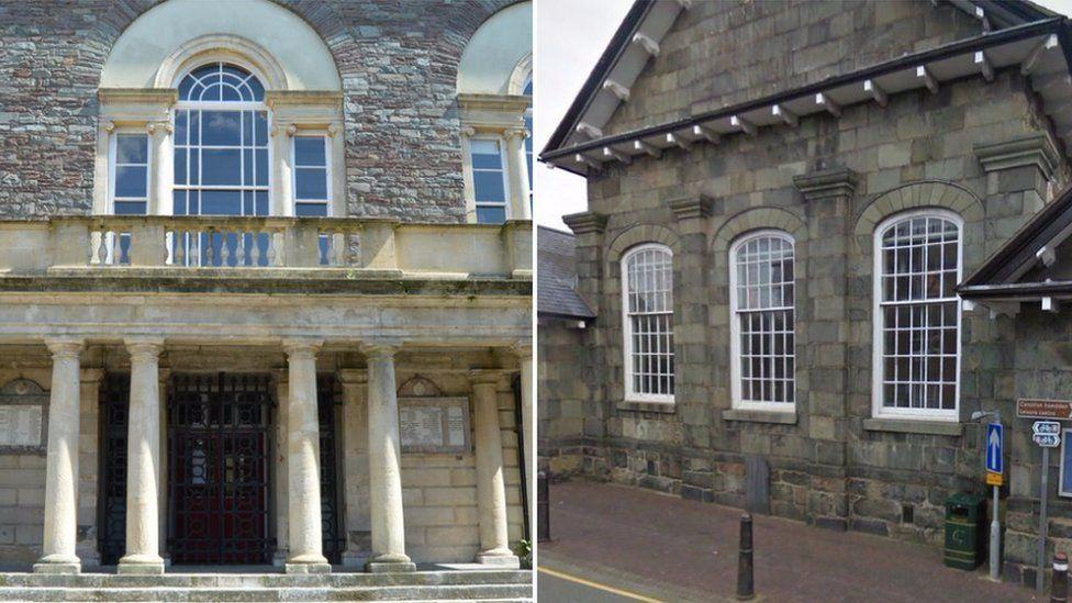 Carmarthen's Guildhall court and Dolgellau Magistrates' Court, Gwynedd