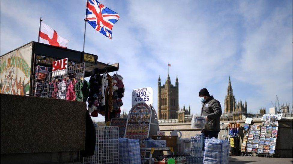 Souvenir seller beside Westminster Bridge