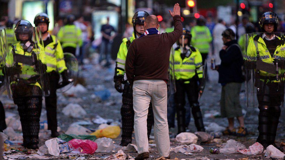 Rangers fan faces policeman