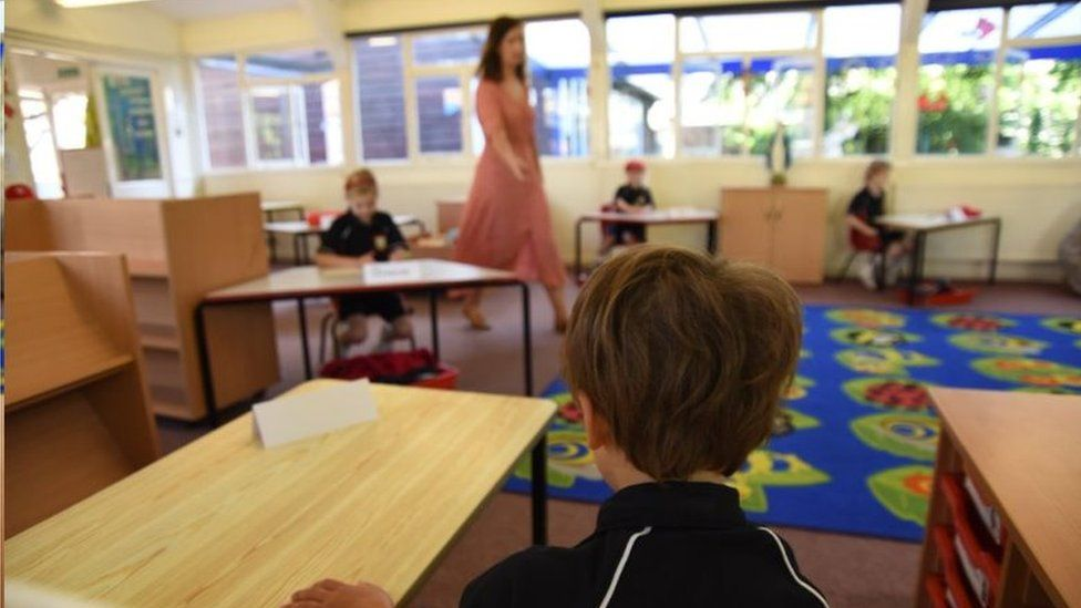 Children in newly spaced classroom