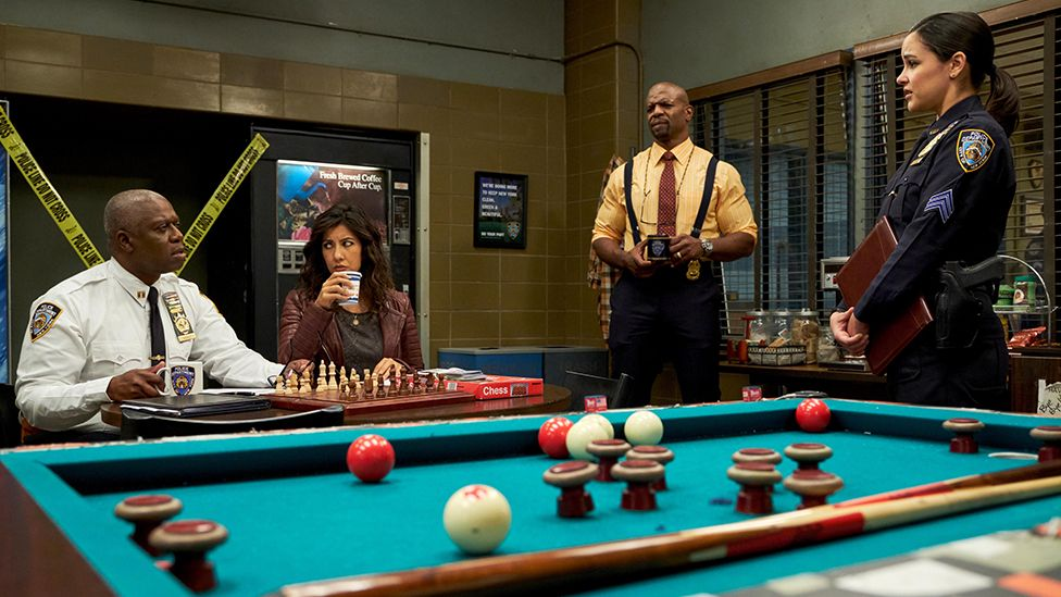Captain Holt (left), Rosa Diaz (centre left), Sergeant Jeffords (centre right) and Amy Santiago (right) have been involved in sensitive storylines