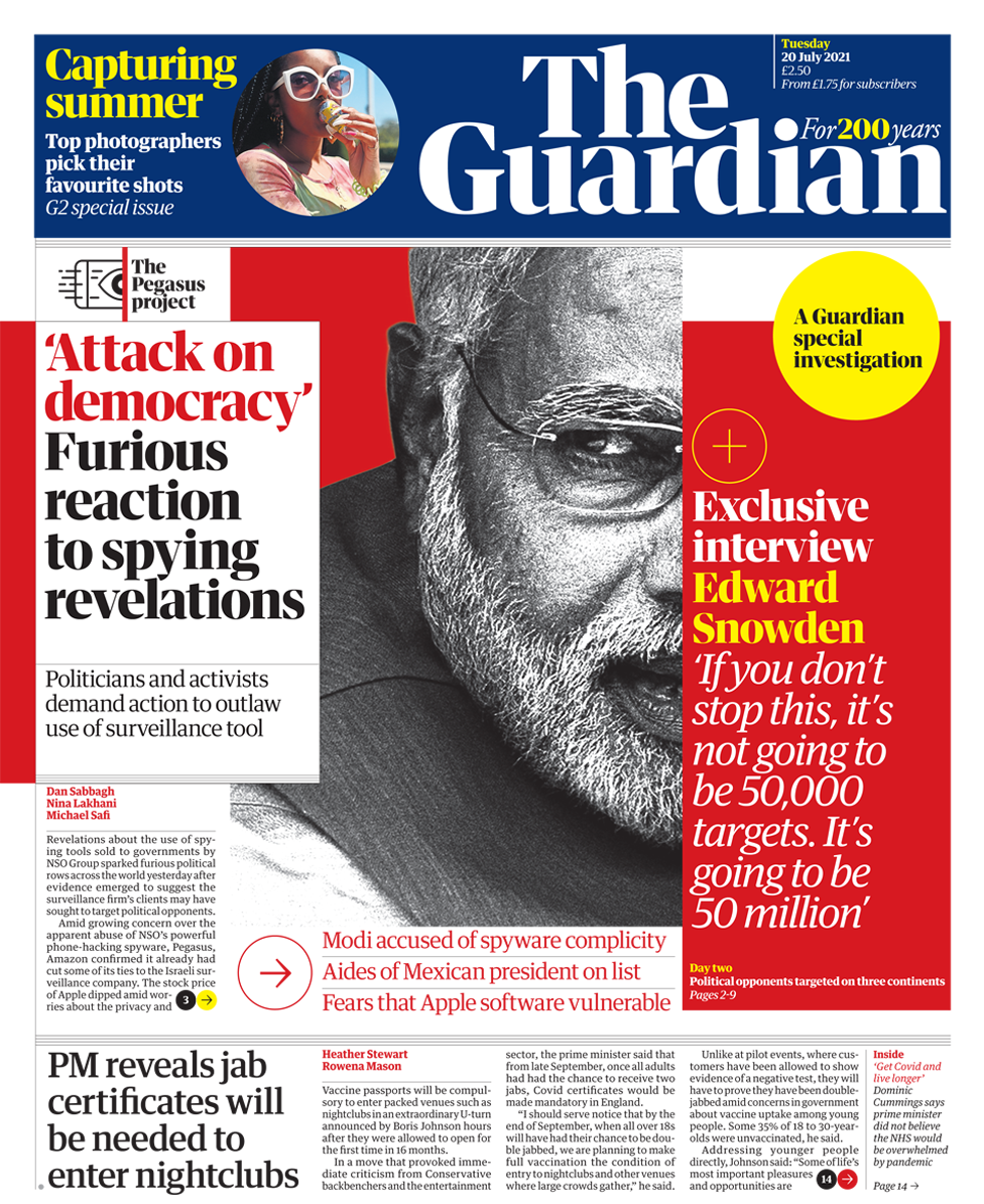 The Guardian front page 20/07/21