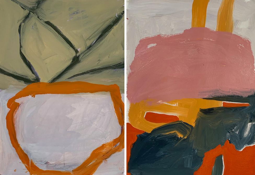 Two recent shed paintings by artist Henry Ward, made in early April