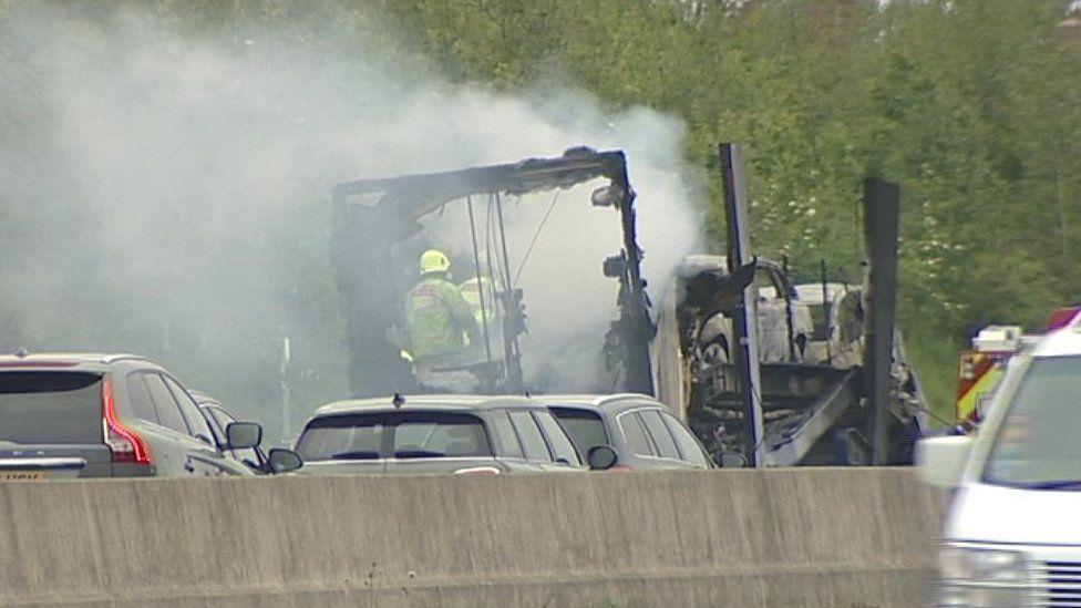 Scene of lorry crash on A1