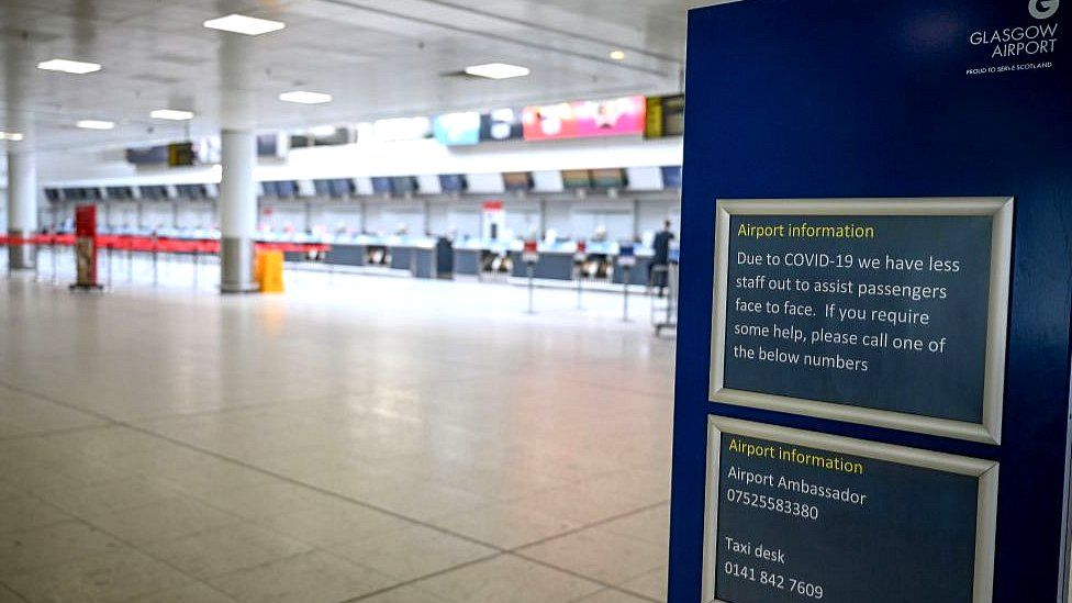 An empty Glasgow Airport as airlines have grounded all but essential flights