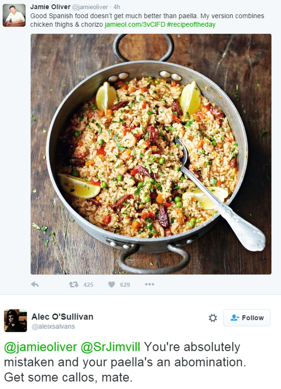 "A tweet reads: ""Good Spanish food doesn't get much better than paella. My version combines chicken thighs & chorizo"" to which one user replies that it is an ""abomination"""