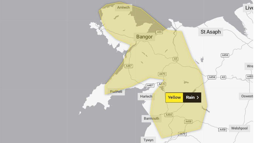 map showing weather warning for parts of Wales