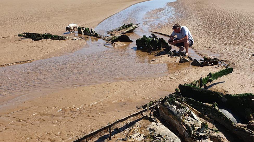 Wreckage on beach