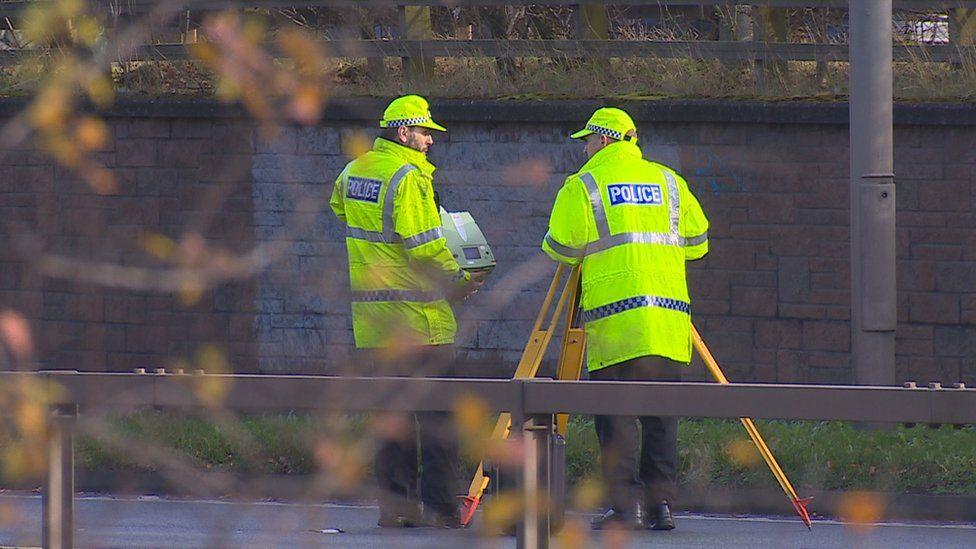 Police investigators at the scene