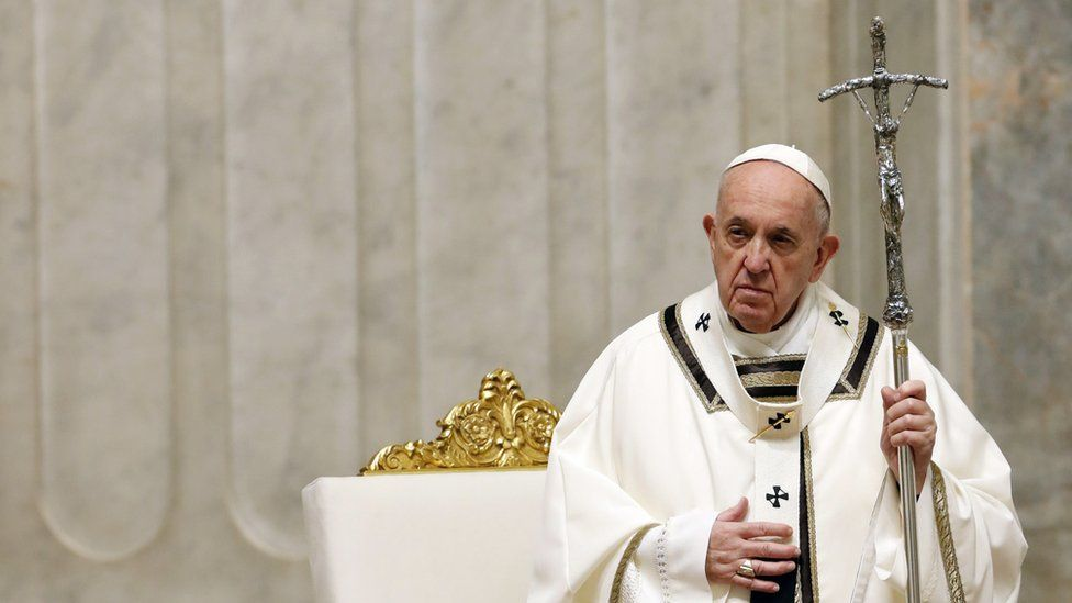 Pope Francis leads the Easter Vigil Mass at the Vatican