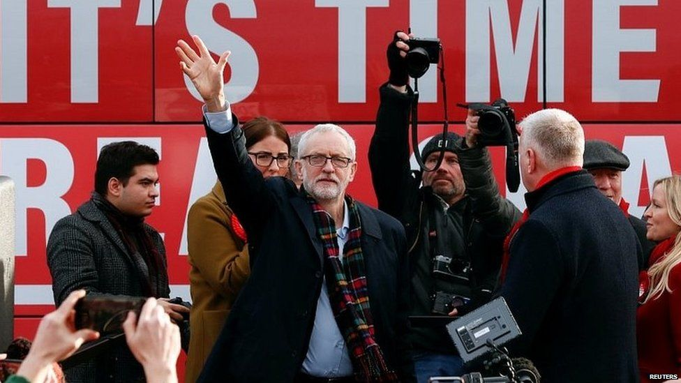 Jeremy Corbyn addressing a rally during the general election