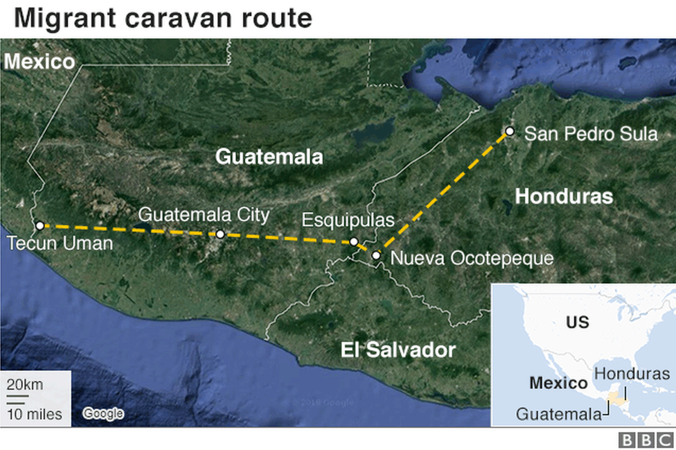 A BBC map showing the migrant caravan's route through Honduras and Guatemala