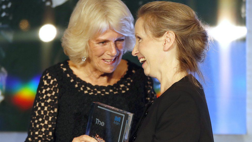 The Duchess of Cornwall presenting Anna Burns with the trophy