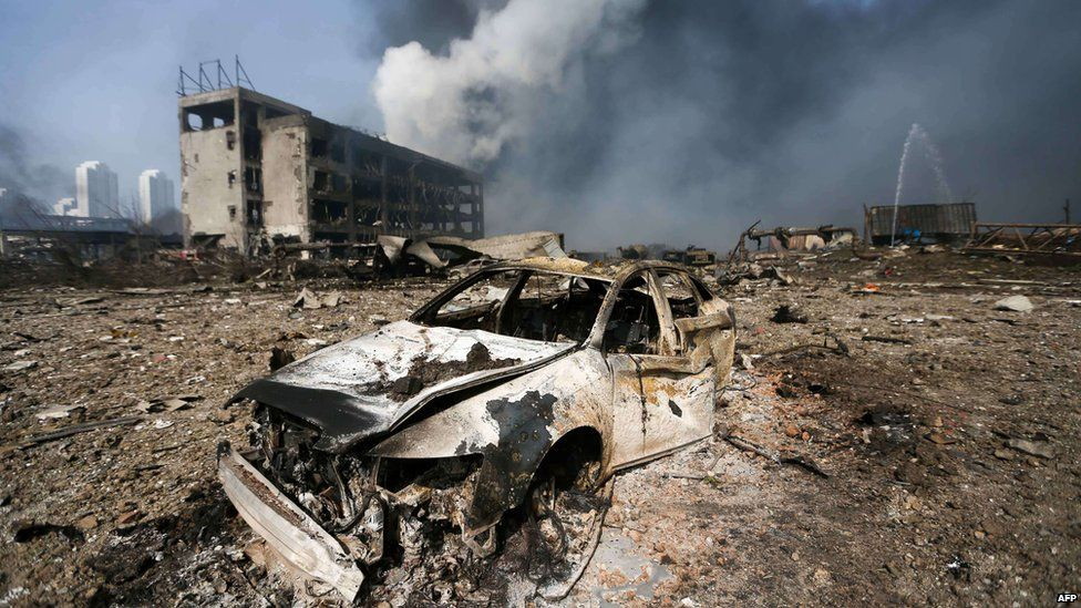 A burnt out car in Tianjin