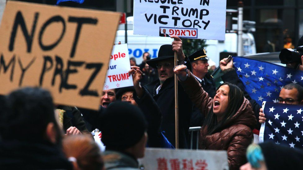 Protesters clash outside Trump Tower in New York after the 2016 election.