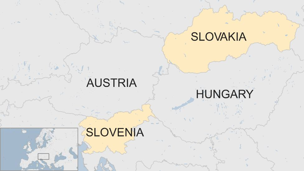 Slovenia and Slovakia shown on a cropped map of Europe - they do not touch, as Austria and Hungary lie between them