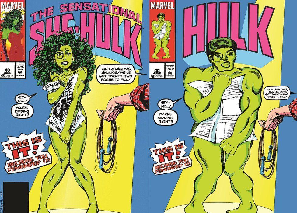 Comic cover by Shreya Arora showing She-Hulk and Hulk, with the same body language