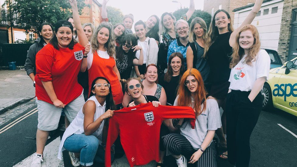 Emma Townley with female football fans