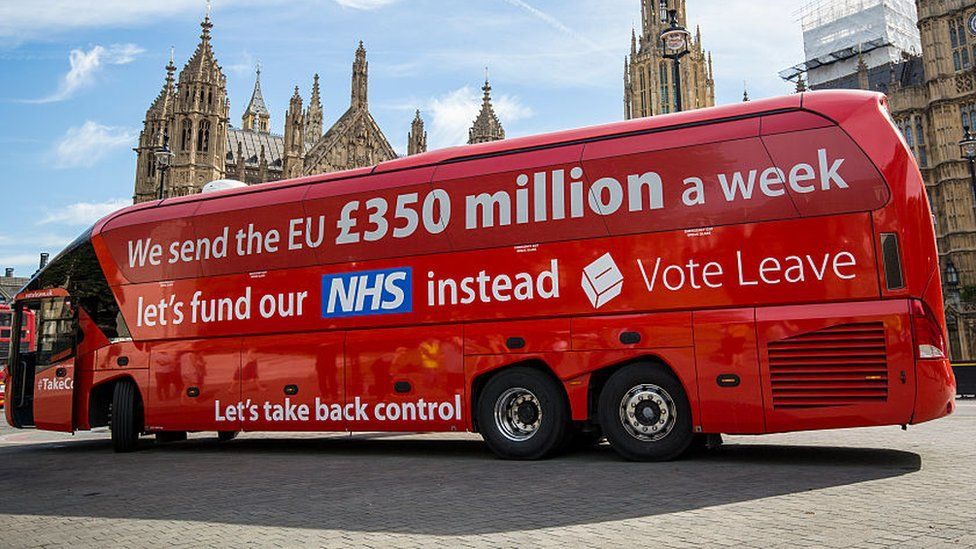 """Vote Leave bus with the slogan: """"We send the EU £350 million a week, let's fund our NHS instead"""""""